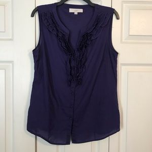 LOFT Medium Purple Ruffle Sleeveless Top Cotton